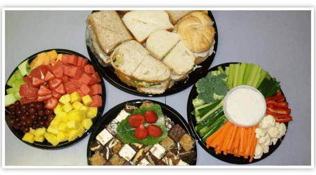 Different catered food trays